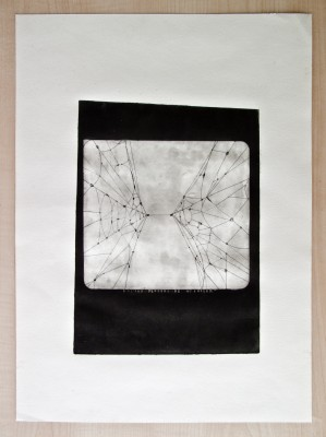 """""""La última neurona de Miguelón"""". Gravat en planxa de zinc sobre paper. 25 x 35 cm. Atenes. 1998."""