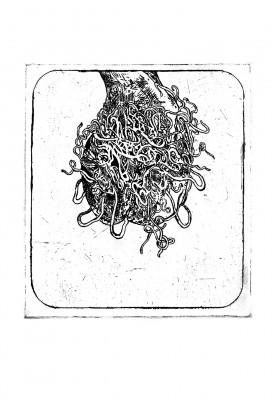Gravat en planxa de zinc sobre paper. 38 x 25,5 cm. Barcelona. 2001.
